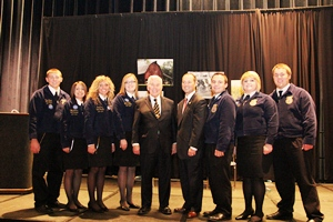 Indiana FFA state officer team with Senator Lugar and Representative Stutzman at the 2011 National Convention.