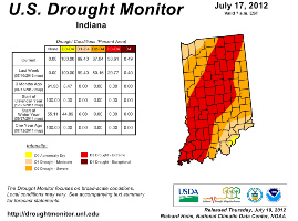 Latest US Drought Monitor map for Indiana.