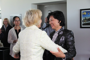 Lt. Governor Becky Skillman welcomes Chairwoman Md. Qiao to the Indianapolis Motor Speedway