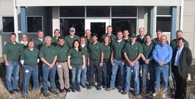 DuPont Pioneer's Dallas Center research team in front of their new facility.