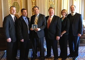 L-R: Tadd Nicholson, Bryan Bush, Senator Sherrod Brown, John Hoffman, Lyndsey Murphy, Jack Irvin