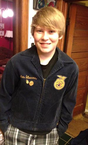 John Thomas Steever proudly wears his father's FFA jacket from the 1970s.