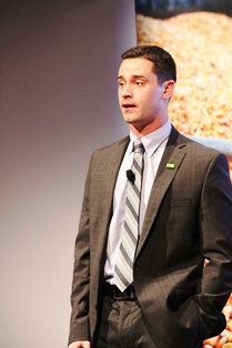 BASF's AJ Woodyard speaks during the Science Behind BASF event.
