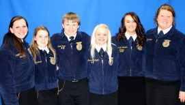 2013-2014 South Dakota State FFA Officers (from left to right): State FFA Reporter Carrietta Schalesky, Bison; State FFA Secretary Cheyenne Leonhardt, Groton; State FFA Treasurer David Strain, Sturgis; State FFA Vice President Breanna Bullington, Brookings; State FFA President Makayla Heisler, Newell; State FFA Sentinel Shala Larson, Webster