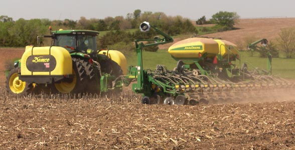 Scott Spohn of Friend, Nebraska plants his final field of soybeans on May 17.