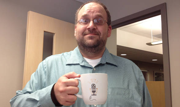 John with new coffee mug