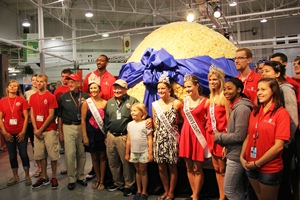 The World's Largest Popcorn Ball is on display at the 2013 Indiana State Fair.