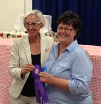 Missouri First Lady Georgeanne Nixon and pie contest triple winner Kristie Price, 2013 Missouri State Fair