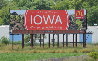 Iowa McDonalds billboard 7-13