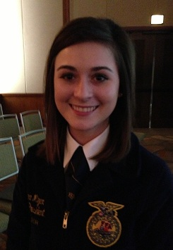 Photo of Missouri FFA President Abrea Mizer at the 2014 Governor's Conference on Agriculture