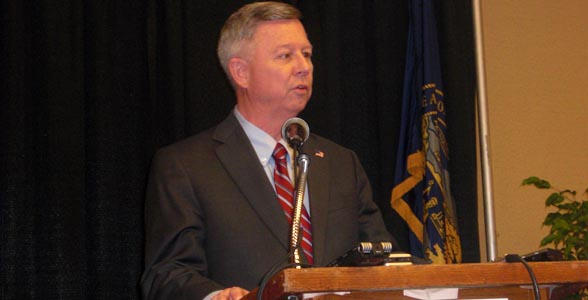 Nebraska Governor Dave Heineman addresses the media at the Governor's Ag Conference in Kearney. Click photo for story