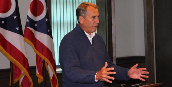 Speaker Boehner taking media questions at Farm Forum in Ohio.