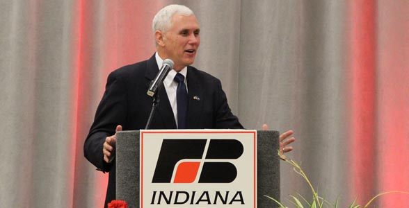 Indiana Governor Mike Pence addresses the Indiana Farm Bureau Spring Conference.