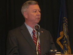 Nebraska Governor Dave Heineman addresses the media at the Governor's Ag Conference in Kearney