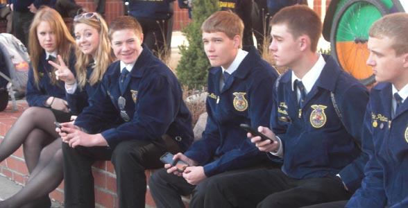 Taking a break at the Nebraska FFA Convention in Lincoln.