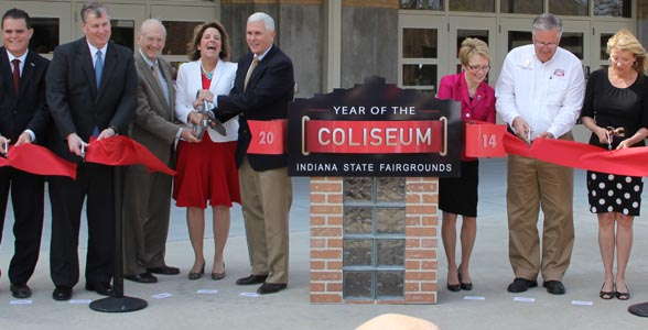 The ribbon cutting at the re-opening of the Coliseum at the Indiana State Fair.