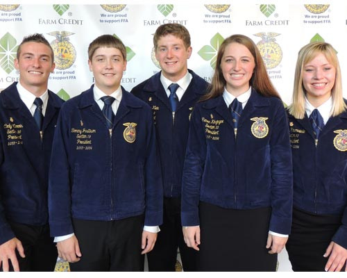 The Illinois FFA State Officer Team: (left to right) Cody Morris; Tommy Justison; Andrew Klein; Renee Kinzinger and Willow Krumwiede