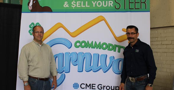 Tim Andriesen CME Group and Dr  Paul Kuber Ohio State University at the Commodity Carnival exhibit (2)