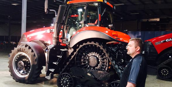 The new Case IH Magnum Rowtrac tractor, unveiled at the company's Nevada, Iowa, training center.
