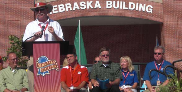 Nebraska Extension director Chuck Hibberd speaks during grand opening ceremonies for the 2014 Nebraska State Fair.