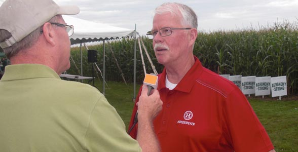 Brownfield's Ken Anderson interviews veteran corn breeder Dr. Tom Hoegemeyer, who was the keynote speaker at the FC Coop Field Trial Showcase event in Farnhamville, Iowa.