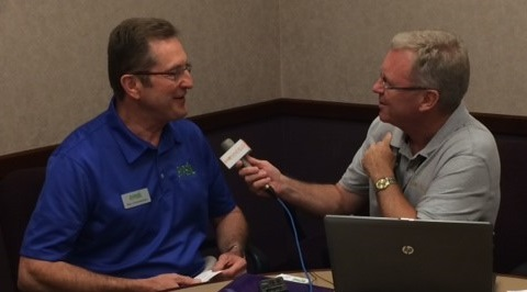 GYPSOIL founder Ron Chamberlain (on the left) visits with Brownfield's Ken Anderson