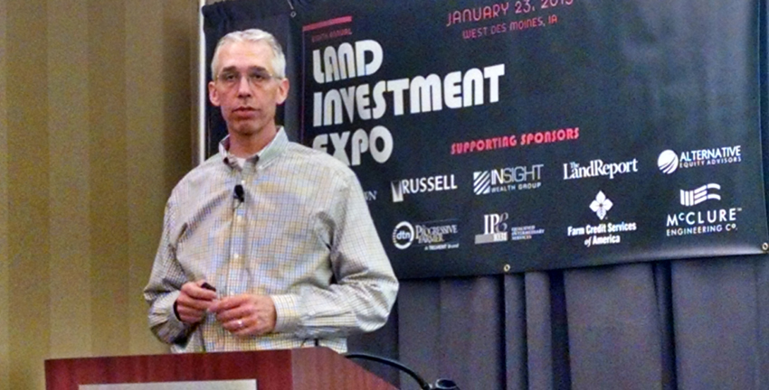 Jim Knuth of Farm Credit Services of America discusses farmland trends at the Land Investment Expo in Des Moines.