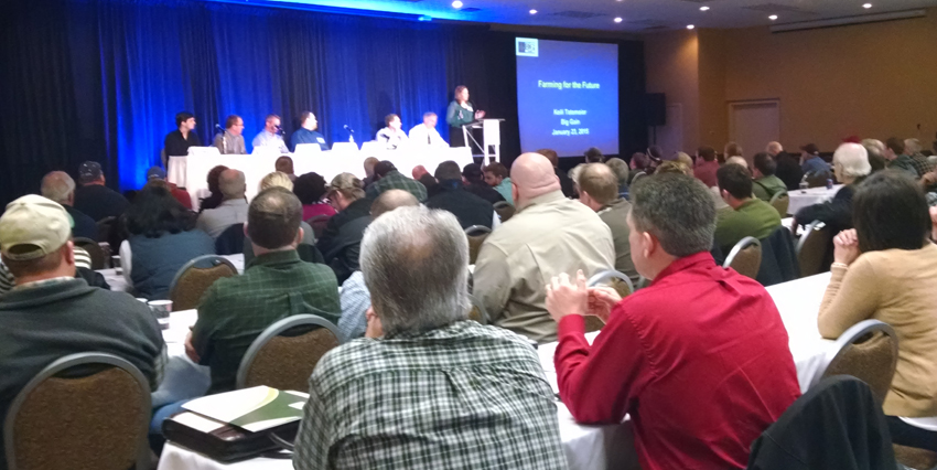 Panel discussion on livestock opportunities at the Farming for the Future Conference in Ames, Iowa.