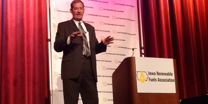 U.S. Navy Rear Admiral Len Hering (Ret.), Executive Director, Center for Sustainable Energy, speaks at the Iowa Renewable Fuels Summit.