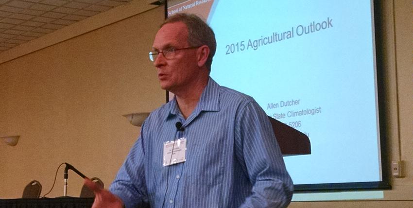 UNL climatologist Al Dutcher speaks at a sorghum symposium in Grand Island, Nebraska