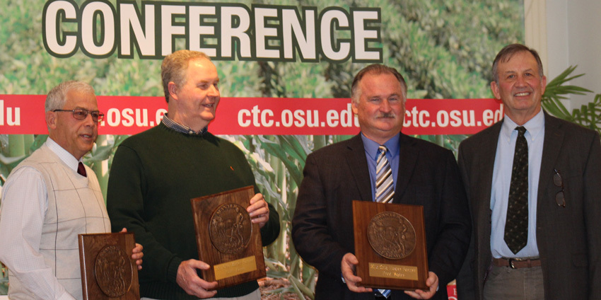 Terry McClure, Paulding Co.; Keith Kemp, Preble Co. and Fred Yoder, Union Co. were named Ohio Master Farmers during the 2015 Conservation Tillage Conference