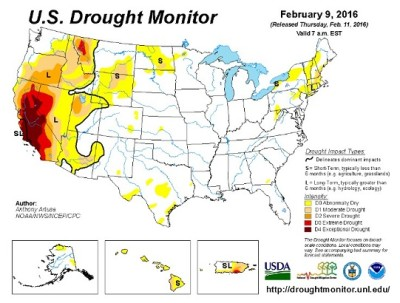 drought monitor u.s. 2-9-16