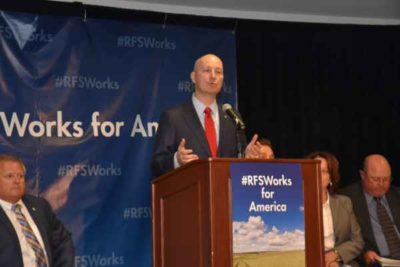 Nebraska Governor Pete Ricketts spoke at a news conference during the RFS hearing in Kansas City. (photo courtesy Nebraska Ethanol Board)
