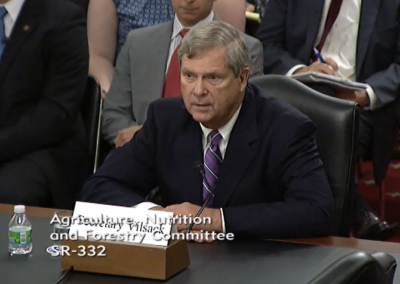 Ag Secretary Tom Vilsack testified Wednesday at a Senate Ag Committee hearing.